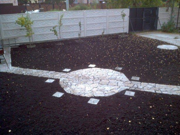 На фото политая почва под газон