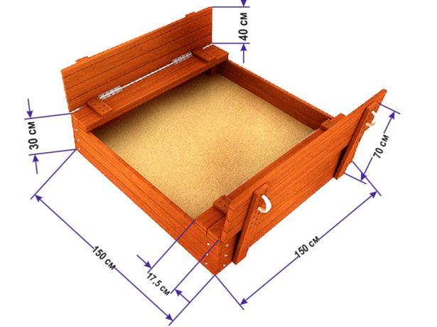 Чертёж деревянной песочницы