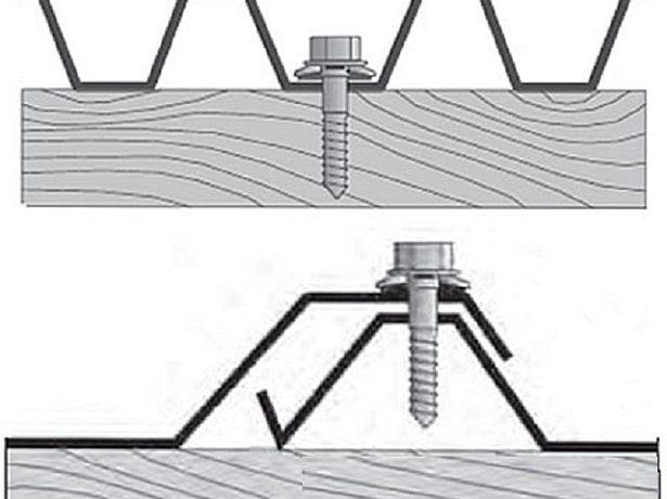 Установка обшивки забора на поперечные лаги саморезами с шайбой