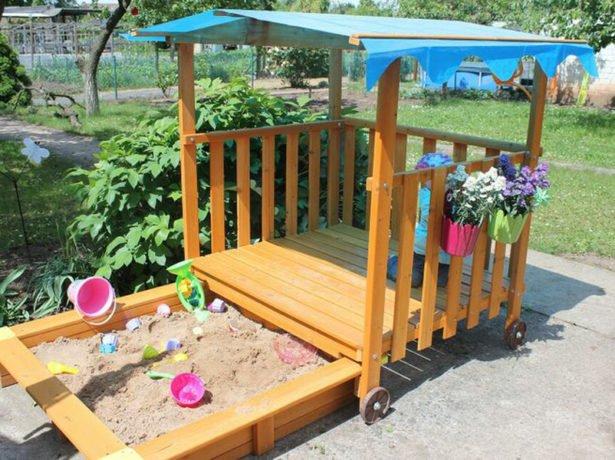 Изготовление детской песочницы своими руками 70
