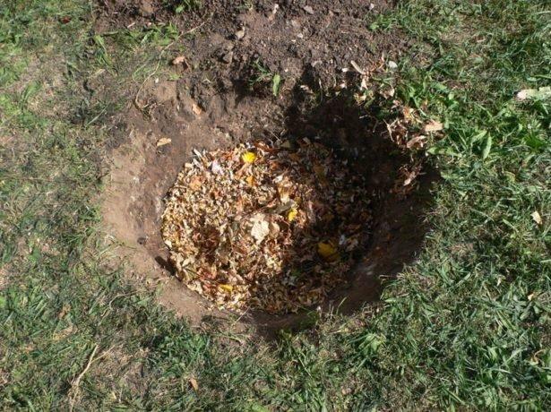 Удобрения и почва на дне ямы