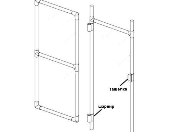 Чертёж двери из пластиковых труб