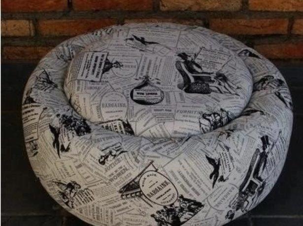 Текстильная обивка для пуфика из покрышки