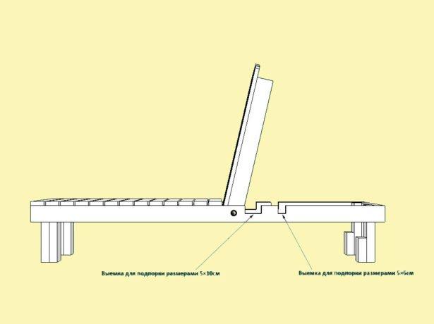 Опорный механизм шезлонга