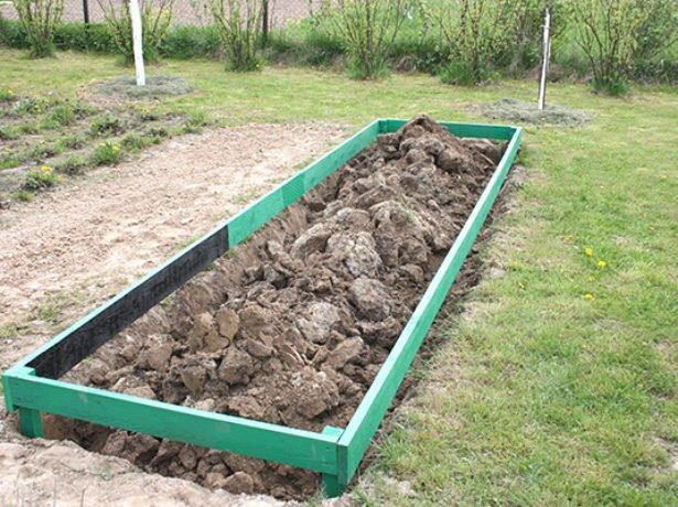 Установка деревянного каркаса на гряду