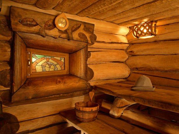 Русская баня изнутри