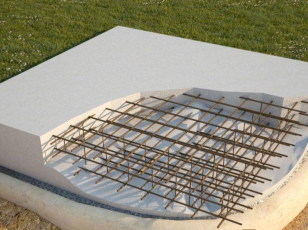 Схема устройства плитного армированного фундамента