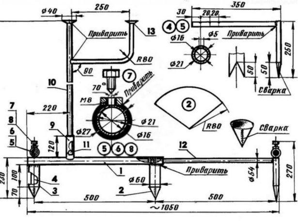 Схема маркёра с выдвижными штырями