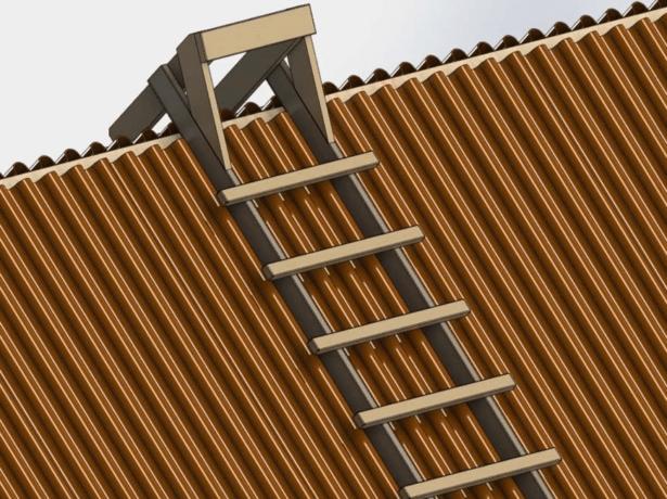 Лестница-трап для крыши из ондулина