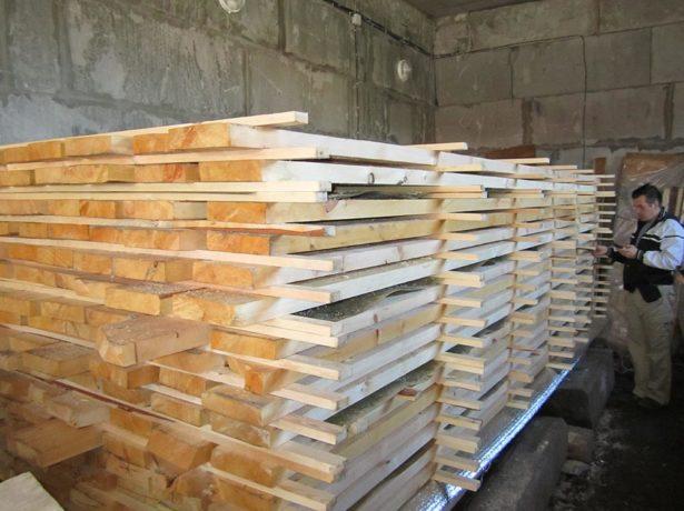 Сушка древесины в штабеле