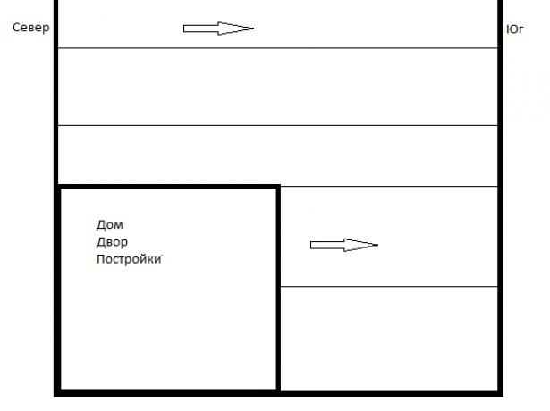 Схема участка с домом и огородом