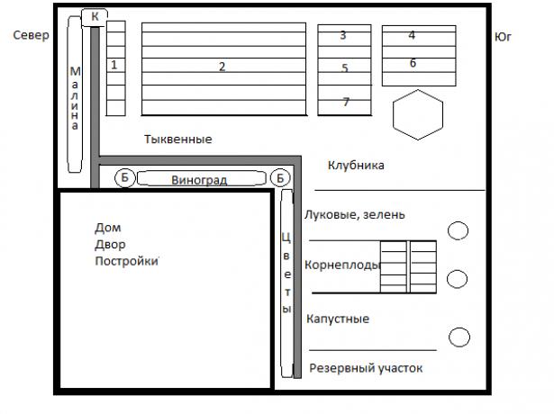 Схема огорода с главными дорожками