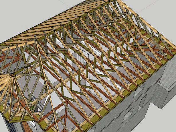 Стропильная система вальмовой крыши с эркером