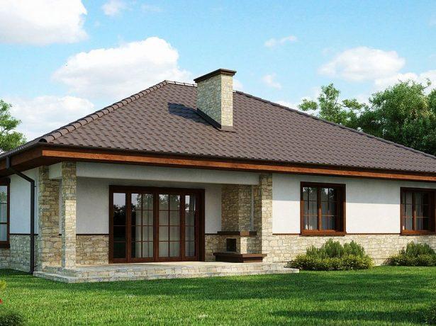 Проект дома с эркером и крытой террасой