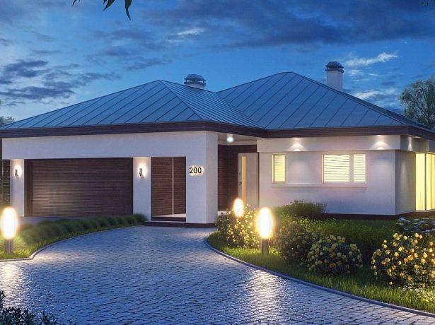 Дом с четырёхскатной крышей и гаражом на две машины