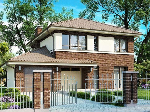 Двухэтажный дом с четырёхскатной крышей классической формы