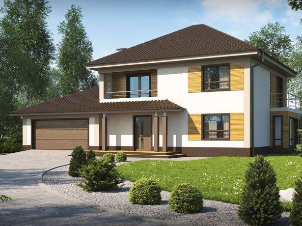 Проект двухэтажного дома с четырёхскатной крышей и гаражом для двух машин