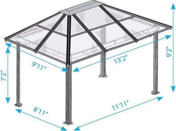 Схема четырёхскатной крыши из поликарбоната для беседки