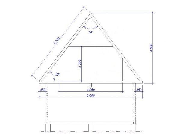 Чертёж двускатной мансардной крыши для домика 6х6 м