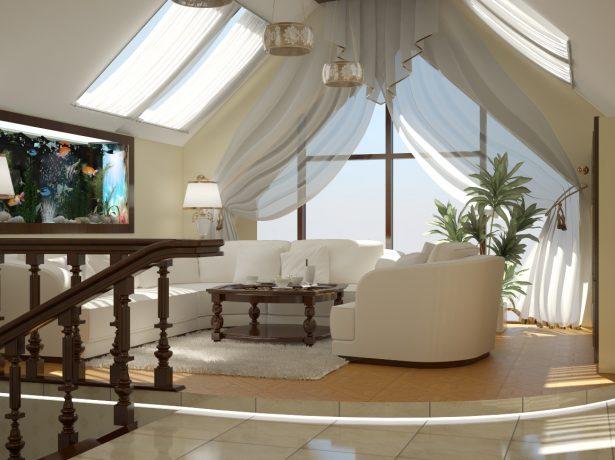 Оформление мансарды под двускатной крышей