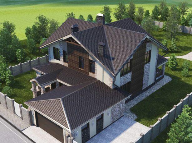 Коттедж с многощипцовой крышей
