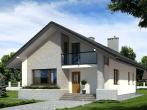 Фасад дома с двухскатной крышей