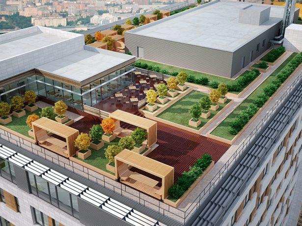 Общественное пространство на крыше многоквартирного здания