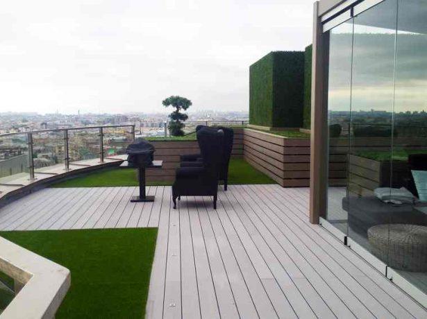 Террасная доска и газон на крыше