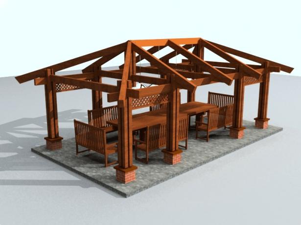 Стропильная система беседки с вальмовой крышей