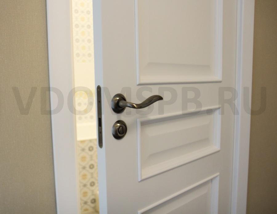 белая крашенная дверь в ванную