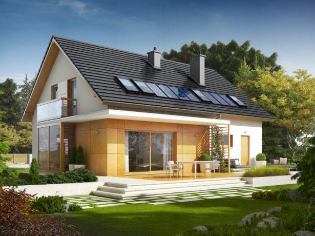 Жилой дом с двускатной крышей