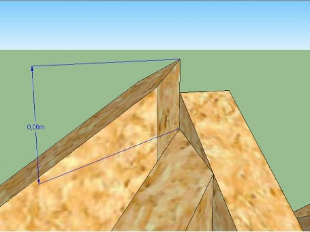 Измерение расстояния от края запила до торца стропила