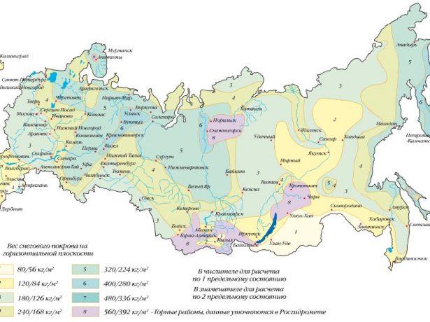 Карта снеговых нагрузок по районам РФ