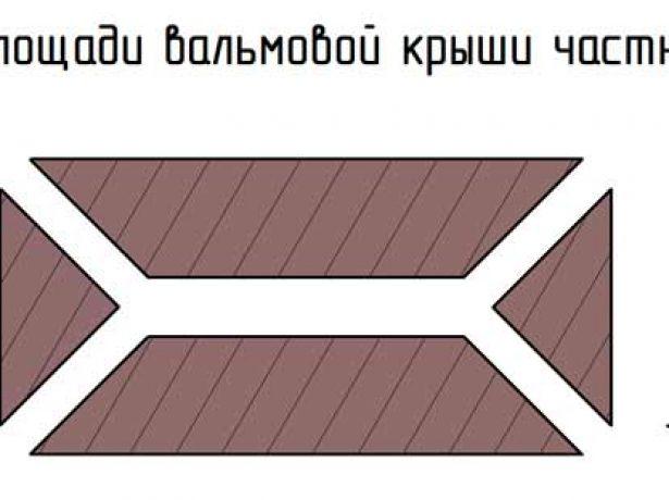 Расчёт площади вальмовой крыши
