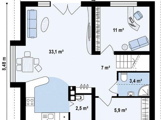 План 1 этажа дома с эркером