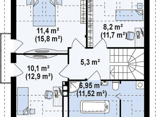План мансарды с тремя спальнями