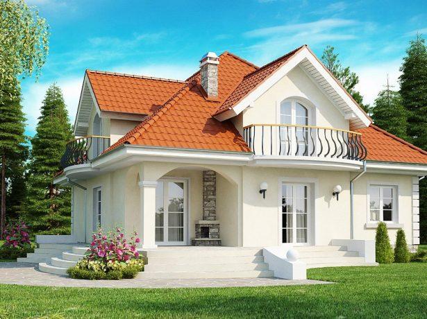 Дом с мансардой и камином на террасе