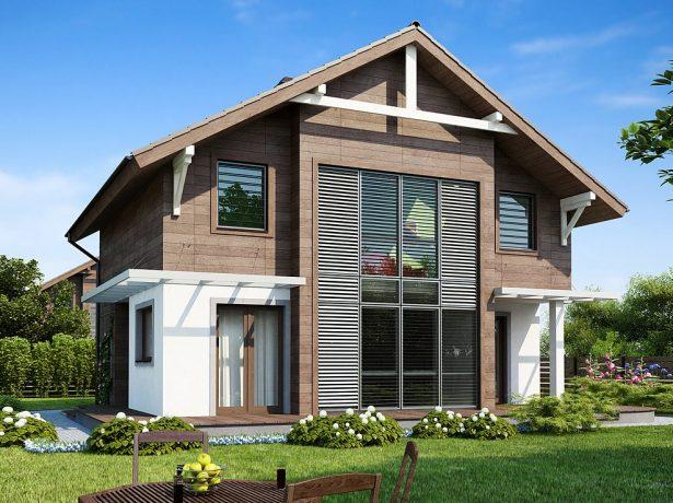Дом с фасадом контрастных цветов