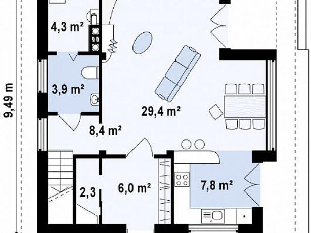 План 1 этажа с гостиной и кухней