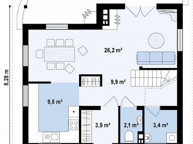 План 1 этажа с двумя входами