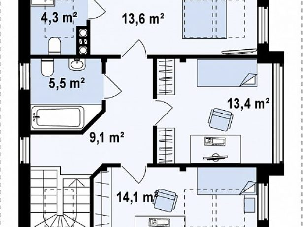 План мансарды с двумя ванными комнатами