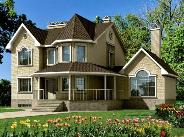 Двухэтажный дом с двумя типами крыш