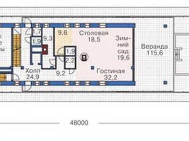 Дом в виде корабля: план первого этажа