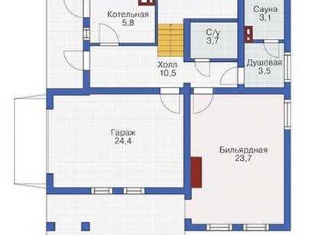 Практичный дом из бруса: план первого этажа