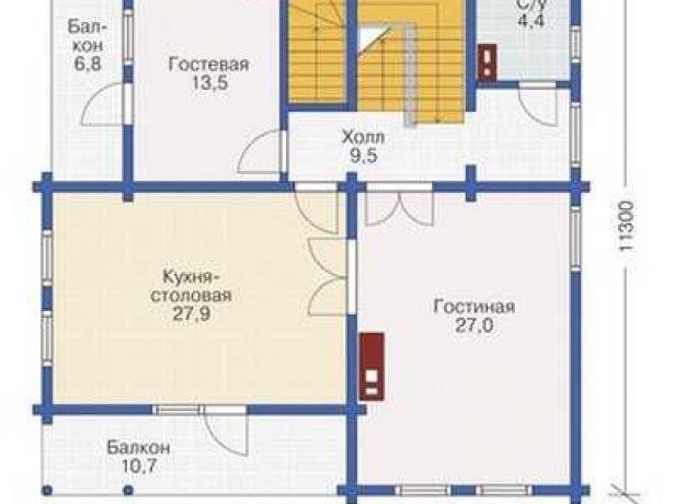 Практичный дом из бруса: план второго этажа