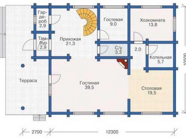 Дом в традициях деревянного зодчества: план первого этажа