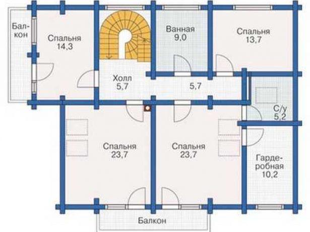 Дом в традициях деревянного зодчества: план второго этажа