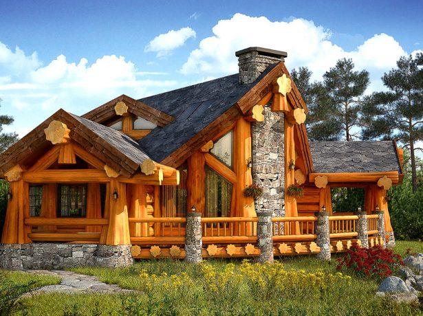 Оригинальный дом из кряжевого леса