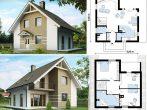 Проект двухэтажного дома с двухскатной мансардной крышей