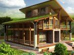 Дом в американском стиле с большой верандой вдоль длинного фасада